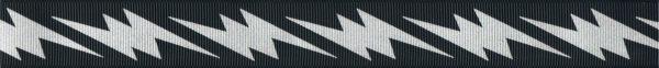 Silberfarbige Blitze auf schwarzem Ripsband-Untergrund.