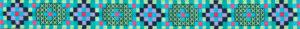 Webband in vorrangig grünblauem Farbton. Die Musterung ergibt sich vollflächig aus den verschiedenfarbig gewebten kleinen Quadraten.