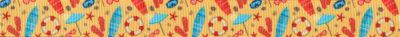 Motive, die an einen Badeurlaub erinnern, auf sandstrandfarbenem Ripsbanduntergrund.