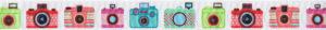 Nebeneinandergereiht und sich wiederholend 6 verschieden gestaltete und verschieden farbig bunte Fotoapparate.