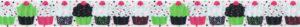 Cupcakes in grün-, pink-, weiß- und schwarzen Farbkombinationen.