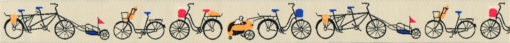 wie gezeichnet fein eingewebte, verschiedenartige, mit farbigen Details ausgestattete Fahrräder auf beigem Untergrund. Sehr elegantes Webband!