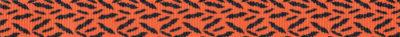Viele kleine, schwarze Fledermäuse auf orangefarbenem Ripsbanduntergrund.