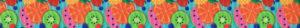 Melonen, Kiwi, Orangen, Ananas, Blaubeeren, Erdbeeren: dicht aneinandergedrängt auf türkisfarbenem Ripsbanduntergrund.