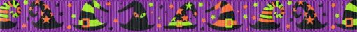 Verschiedene, orange-grün-schwarze Halloweenhüte auf violettfarbenem Ripsbanduntergrund.