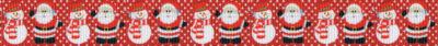 Schneemänner mit rot-weißem Schal und Weihnachtsmänner in schwarz-weiß-roter Kleidung und Weißem Vollbart stehen abwechselnd nebeneinander.