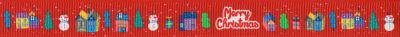 """Häuschen, Schneemänner, Bäume und der Schriftzug """"Merry Christmas"""" auf rotem Ripsbanduntergrund."""