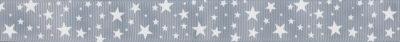 Kleine Sterne verschiedener Größe auf hellgrauem Ripsband.