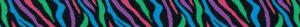 Typisches Zebramuster in bunt - grüne, blaue, violette und pinkfarbene Streifen in gleichmäßiger Abwechslung.