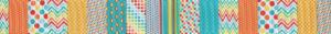 ganze verschiedenfarbige und verschiedenartike kleingestaltete Muster als Querstreifen nebeneinander gereiht ergeben das Design dieses Ripsbandes