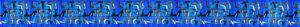 Blaues Ripsband mit vielen kleinen Hunden in verschiedenen Yogastellungen